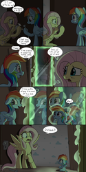 Size: 2000x4000 | Tagged: abandoned, age regression, artist:skitter, comic, comic:secret of the haunted nursery, dialogue, female, filly, filly rainbow dash, flashlight (object), floppy ears, fluttershy, glow, haunted house, high res, magic, mirror, mouth hold, nursery, onomatopoeia, open mouth, pegasus, pony, rainbow dash, raised hoof, safe, scared, sound effects, speech bubble, spread wings, transformation, wide eyes, wings, younger