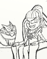 Size: 2400x3000 | Tagged: artist:saburodaimando, equestria girls, helmet, lady drakkon, lord drakkon, pencil drawing, power rangers, preview, safe, sci-twi, sketch, sneak peak, throne, traditional art, twilight sparkle