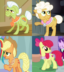 Size: 912x1026 | Tagged: safe, edit, screencap, apple bloom, applejack, goldie delicious, granny smith, pony, pinkie apple pie, the cutie pox, the last problem, spoiler:s09e26, apple bloom's bow, applejack's hat, bow, clothes, collar, cowboy hat, cropped, goldie delicious' scarf, granny smith's scarf, hair bow, hat, neckwear, older, older apple bloom, scarf