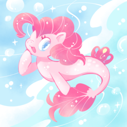 Size: 500x500 | Tagged: artist:ymnsk, bubble, clothes, cute, diapinkes, female, open mouth, pinkie pie, safe, seaponified, seapony (g4), seapony pinkie pie, solo, species swap, underwater