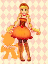 Size: 1538x2058 | Tagged: applejack, artist:hosikawa, braided pigtails, clothes, country applejack, cute, dress, equestria girls, female, friendship through the ages, human, human coloration, humanized, jackabetes, safe, solo
