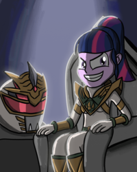 Size: 2400x3000 | Tagged: artist:saburodaimando, equestria girls, lady drakkon, lord drakkon, power rangers, safe, sci-twi, shattered grid, throne, twilight sparkle