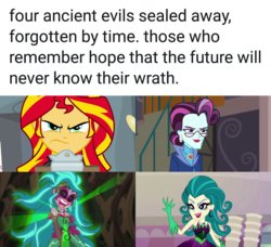 Size: 1080x986 | Tagged: artist:mega-poneo, dialogue, edit, edited screencap, equestria girls, equestria girls (movie), four ancient evils, friendship games, gaea everfree, gloriosa daisy, juniper monstar, juniper montage, legend of everfree, meme, mirror magic, principal abacus cinch, safe, screencap, spoiler:eqg specials, sunset shimmer