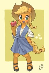 Size: 1200x1800 | Tagged: safe, artist:yanamosuda, applejack, earth pony, semi-anthro, abstract background, apple, bipedal, blushing, braid, braided pigtails, braided tail, clothes, cute, cutie mark, dress, female, food, hoof hold, hoof on hip, jackabetes, mare, open mouth, shoes, solo