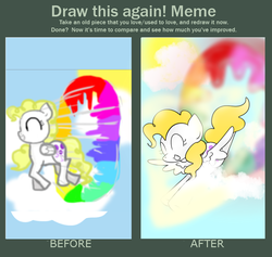 Size: 784x744 | Tagged: safe, artist:wisheslotus, surprise, pegasus, pony, cloud, comparison, draw this again, eyes closed, female, flying, mare, redraw, smiling, sonic rainboom