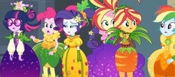 Size: 2022x896 | Tagged: safe, edit, edited screencap, screencap, fluttershy, pinkie pie, rainbow dash, rarity, sci-twi, sunset shimmer, twilight sparkle, equestria girls, equestria girls series, holidays unwrapped, spoiler:eqg series (season 2), alternate hairstyle, carrot, clothes, corn, dress, fashion, flower, flower in hair, food, glasses, jewels, leaves, looking at each other, panorama, ponytail, surprised, wristband