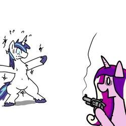 Size: 600x600 | Tagged: safe, artist:kushina13, princess cadance, shining armor, alicorn, pony, unicorn, belly button, bipedal, gun, handgun, hoof hold, male, revolver, simple background, stallion, weapon, white background, who needs trigger fingers
