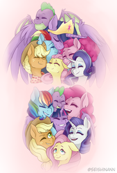 Size: 2801x4153 | Tagged: alicorn, applejack, artist:seishinann, cute, dragon, earth pony, end of ponies, eyes closed, female, fluttershy, heartwarming, mane seven, mane six, older, older applejack, older fluttershy, older mane 6, older mane 7, older pinkie pie, older rainbow dash, older rarity, older spike, older twilight, pegasus, pinkie pie, pony, princess twilight 2.0, rainbow dash, rarity, safe, smiling, spike, spoiler:s09e26, the last problem, twilight sparkle, twilight sparkle (alicorn), unicorn, winged spike