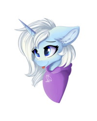 Size: 1024x1280 | Tagged: safe, alternate version, artist:lunar froxy, oc, oc only, oc:eula phi, pony, unicorn, bust, cheek fluff, clothes, ear fluff, female, hoodie, portrait, simple background, smiling, solo, tongue out, transparent background