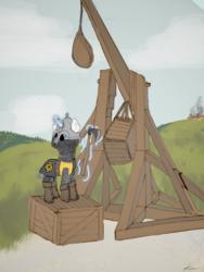 Size: 1080x1440 | Tagged: safe, artist:kotwitz, oc, pony, unicorn, fantasy class, fire, medieval, siege, slavic, soldier, solo, trebuchet, warrior, weapon