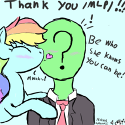 Size: 500x500 | Tagged: artist:notawriteranon, blushing, cute, female, kissing, kiss on the cheek, mare, /mlp/, motivational, oc, oc:anon, pegasus, pony, rainbow dash, safe