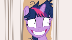 Size: 4391x2429 | Tagged: artist needed, safe, derpibooru exclusive, twilight sparkle, pony, awkward, crazy face, creepy, creepy smile, faic, here's johnny, jack nicholson, movie reference, smiling, solo, the shining, twilight snapple