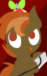 Size: 743x1200 | Tagged: safe, artist:treble clefé, button mash, earth pony, pony, button's adventures, game, male, scene interpretation, solo, tongue out, video game