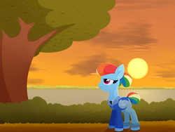 Size: 4000x3000 | Tagged: alternate timeline, amputee, apocalypse dash, artificial wings, artist:moonatik, augmented, bush, cemetery, cigarette, clothes, cloud, crystal war timeline, gravestone, hair bun, implied death, jacket, necktie, older, older rainbow dash, prosthetic limb, prosthetics, prosthetic wing, rainbow dash, safe, solo, sun, sunset, tail bun, tree, wings