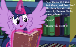 Size: 1152x720 | Tagged: alicorn, best gift ever, book, cropped, cute, edit, edited screencap, implied oc, implied shining armor, magic, magic aura, safe, screencap, speech, squee, that pony sure does love books, twiabetes, twilight sparkle, twilight sparkle (alicorn)