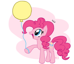 Size: 604x524 | Tagged: safe, artist:mahoxyshoujo, pinkie pie, earth pony, pony, abstract background, balloon, cute, diapinkes, female, looking at something, mare, open mouth, solo