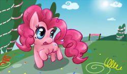 Size: 322x187 | Tagged: safe, artist:mahoxyshoujo, pinkie pie, earth pony, pony, chibi, confetti, cute, diapinkes, female, lowres, mare, open mouth, solo