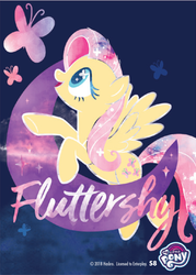 Size: 1489x2079 | Tagged: safe, fluttershy, butterfly, enterplay, flying, merchandise, moon, my little pony logo, smiling, solo, text