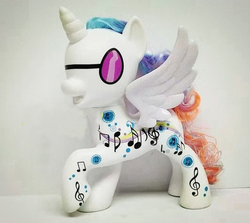 Size: 446x398 | Tagged: safe, dj pon-3, princess celestia, vinyl scratch, alicorn, pony, alicornified, bootleg, fail, female, merchandise, photo, race swap, toy, vinylcorn, you had one job