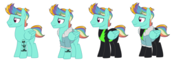 Size: 8770x3188 | Tagged: artist:alina-brony29, artist:harmonyharp, artist:lazuli, base used, bomber jacket, clothes, jacket, magical lesbian spawn, male, multicolored hair, oc, oc only, oc:prism flash, offspring, parent:lightning dust, parent:rainbow dash, parents:rainbowdust, pegasus, pony, rainbow hair, safe, simple background, solo, stallion, tattoo, transparent background, uniform, washouts uniform