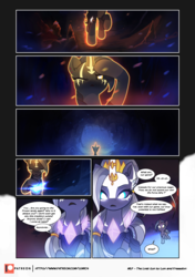 Size: 3541x5016 | Tagged: safe, artist:freeedon, artist:lummh, oc, oc:appolonia, oc:selendis, pony, unicorn, comic:the lost sun, collaboration, comic, female, filly, foal, gem, glowing eyes, glowing gems, horn, horn ring, mare, one eye closed, patreon, patreon logo, speech bubble, younger