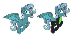Size: 8036x3957 | Tagged: safe, artist:doraair, artist:harmonyharp, oc, oc only, oc:thundersky (ice1517), pegasus, pony, icey-verse, base used, blank flank, clothes, female, flying, heterochromia, magical gay spawn, mare, multicolored hair, offspring, open mouth, parent:open skies, parent:thunderlane, parents:thunderskies, raised hoof, raised leg, simple background, solo, transparent background, uniform, washouts uniform