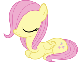 Size: 4500x3608 | Tagged: artist:agrol, artist:slb94, behaving like a cat, cute, female, filly, filly fluttershy, fluttershy, ponyloaf, prone, safe, shyabetes, smiling, vector, younger