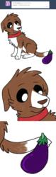 Size: 800x2533   Tagged: safe, artist:askwinonadog, winona, dog, ask winona, ask, comic, description is relevant, eggplant, female, food, simple background, solo, tumblr, white background