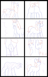 Size: 5000x8000 | Tagged: safe, artist:chedx, big macintosh, shining armor, oc, oc:home defence, earth pony, pony, unicorn, comic:the fusion flashback, comic, commissioner:bigonionbean, dialogue, fusion, fusion:home defence, hat, magic, merge, merging, sketch, sketch dump, writer:bigonionbean