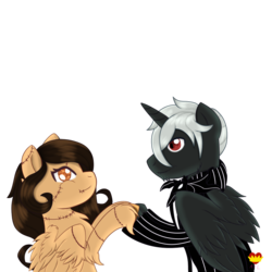 Size: 1000x1000 | Tagged: alicorn, bat, bowtie, clothes, costume, couple, halloween, holiday, hoof hold, looking at each other, oc, oc:daphnes, oc:laurel, pegasus, romantic, safe, stitches, suit, the nightmare before christmas, twinkle eyed pony