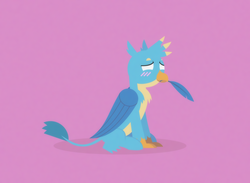 Size: 1666x1218 | Tagged: safe, artist:gd_inuk, gallus, griffon, beak hold, blank eyes, blushing, chest fluff, cute, empty eyes, feather, lineless, male, no pupils, pink background, simple background, sitting, solo, stylized