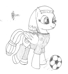 Size: 968x1046 | Tagged: artist:parclytaxel, clothes, egyptian, female, football, jersey, kicking, lineart, liverpool, mare, mohamed salah, monochrome, patreon, pegasus, pencil drawing, pony, pun, safe, series:nightliner, socks, solo, somnambula, sports, traditional art, visual pun