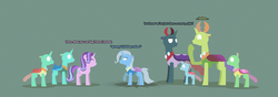 Size: 12397x4343 | Tagged: safe, artist:gd_inuk, cornicle, ocellus, pharynx, starlight glimmer, thorax, trixie, changedling, changeling, pony, unicorn, absurd resolution, background changeling, blank eyes, burn marks, changedling brothers, changedlingified, changelingified, descriptive noise, dialogue, empty eyes, green background, king thorax, lineless, no mouth, no pupils, one hoof raised, pharynx is not amused, prince pharynx, simple background, species swap, stylized, trixie is not amused, unamused