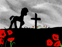 Size: 2000x1500 | Tagged: artist:tunrae, cross, grave, pony, poppy, remembrance day, safe, silhouette, solo, war