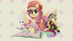 Size: 4444x2500 | Tagged: angel bunny, artist:light262, bakemonogatari, book, commission, discord, female, fluttershy, mare, pegasus, plushie, pony, safe