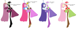 Size: 10288x3872 | Tagged: adventure time, alternate color palette, big macintosh, cartoon network, discopie, discord, female, fluttermac, fluttershy, husband and wife, male, nergal, pinkie pie, princess bubblegum, rarity, safe, shipping, sparity, spike, straight, the grim adventures of billy and mandy