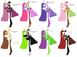 Size: 10288x7632 | Tagged: alternate color palette, big macintosh, black hat (villainous), celia, couple, crossover, demencia, discopie, discord, female, fluttermac, fluttershy, husband and wife, jack skellington, male, mike wazowski, monsters inc., my little pony, nergal, pinkie pie, princess bubblegum, rarity, safe, sally, sandy cheeks, shipping, sparity, spike, spongebob squarepants, straight, the nightmare before christmas, villainous