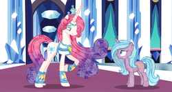 Size: 8979x4796 | Tagged: safe, artist:color-shine, idw, princess amore, radiant hope, crystal pony, pony, unicorn, crystal empire, crystal unicorn, duo, eye contact, female, looking at each other, mare, show accurate