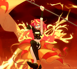 Size: 1500x1333 | Tagged: safe, artist:kkmrarar, sunset shimmer, equestria girls, armpits, clothes, female, fiery shimmer, flag, macross, macross delta, robotech, solo, staff