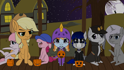 Size: 3840x2160 | Tagged: safe, artist:mranthony2, applejack, marble pie, pinkie pie, oc, oc:aurelia coe, bat pony, changeling, earth pony, pony, unicorn, background changeling, clothes, coe, costume, dead tree, dragon costume, eye clipping through hair, female, full moon, grin, halloween, halloween costume, holiday, jojo's bizarre adventure, jotaro kujo, looking at you, mare, mare in the moon, moon, mouth hold, porch, pumpkin bucket, raised hoof, sitting, smiling, spyro the dragon, tree