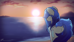 Size: 2715x1527 | Tagged: artist:chebypattern, beach, beautiful, female, mare, oc, oc:cyan moonlight, ocean, oc only, pegasus, safe, solo, sunset