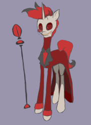 Size: 2178x2985 | Tagged: safe, artist:elizaisepic, demon, pony, unicorn, alastor, creepy, hazbin hotel, male, ponified, radio demon, red and black, simple background, sketch, solo, stallion, tall