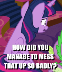 Size: 431x503 | Tagged: alicorn, caption, cropped, edit, edited screencap, horse play, image macro, reaction image, safe, screencap, solo focus, spike, text, twilight sparkle, twilight sparkle (alicorn)