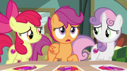 Size: 1920x1080   Tagged: safe, screencap, apple bloom, scootaloo, sweetie belle, pegasus, pony, the last crusade, cutie mark, cutie mark crusaders, female, filly, the cmc's cutie marks