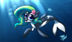 Size: 5469x3234 | Tagged: safe, artist:ohjeetorig, oc, oc only, oc:marina (efnw), fish, merpony, orca, orca pony, original species, seapony (g4), absurd resolution, blue eyes, bubble, commission, crepuscular rays, dorsal fin, everfree northwest, eyelashes, female, fins, fish tail, hairpin, ocean, seashell, signature, smiling, solo, sunlight, swimming, tail, tongue out, underwater, water
