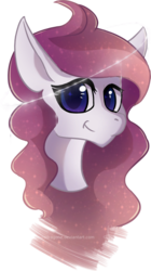 Size: 927x1656 | Tagged: artist:obscuredragone, big eyelashes, big eyes, bonus, bust, commission, curly hair, curly mane, cute, ears, ears up, female, gift art, halo, happy, magic, magical, mane, mare, nature, oc, oc only, pegasus, pony, portrait, reformed, reformed windigo, safe, shiny eyes, solo, sparkles, spell, wind, windigo, windigo oc