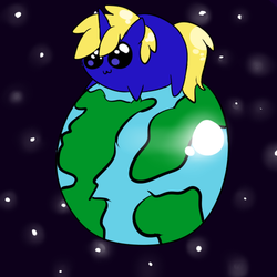 Size: 500x500 | Tagged: safe, artist:wisheslotus, oc, oc only, oc:ben, pony, unicorn, chubbie, earth, horn, male, pony bigger than a planet, solo, space, stallion, stars, tangible heavenly object, unicorn oc