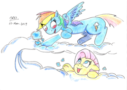 Size: 3500x2477   Tagged: safe, artist:gafelpoez, fluttershy, rainbow dash, pegasus, pony, cloud, female, looking up, mare, on a cloud, the rolling stones