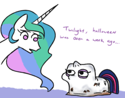 Size: 842x659 | Tagged: safe, artist:jargon scott, princess celestia, twilight sparkle, pony, clothes, costume, dirty, duo, ghost costume, halloween, halloween costume, no pupils, simple background, twiggie, white background
