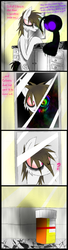 Size: 1200x4400   Tagged: safe, artist:didun850, oc, oc:chase, pony, shadow pony, comic:ask chase the pony, ask, bathroom, comic, confused, duality, eye clipping through hair, grin, heterochromia, insanity, male, mirror, pills, reflection, smiling, stallion, tumblr